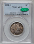 Barber Quarters: , 1892-S 25C AU58 PCGS. CAC. PCGS Population (17/80). NGC Census:(11/65). Mintage: 964,079. Numismedia Wsl. Price for proble...