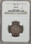 Seated Quarters: , 1864 25C AU55 NGC. NGC Census: (3/34). PCGS Population (1/47).Mintage: 93,600. Numismedia Wsl. Price for problem free NGC/...