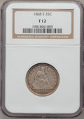 Seated Quarters: , 1868-S 25C Fine 12 NGC. NGC Census: (1/31). PCGS Population (4/36).Mintage: 96,000. Numismedia Wsl. Price for problem free...