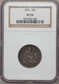 Seated Quarters: , 1872 25C VF25 NGC. NGC Census: (2/41). PCGS Population (0/51).Mintage: 182,000. Numismedia Wsl. Price for problem free NGC...
