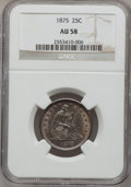 Seated Quarters: , 1875 25C AU58 NGC. NGC Census: (31/206). PCGS Population (22/215).Mintage: 4,293,500. Numismedia Wsl. Price for problem fr...