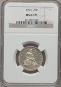 Seated Quarters, 1876 25C MS61 Prooflike NGC. NGC Census: (33/274). PCGS Population(31/357). Mintage: 17,817,150. Numismedia Wsl. Price for...