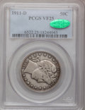 Barber Half Dollars: , 1911-D 50C VF25 PCGS. CAC. PCGS Population (4/185). NGC Census:(2/100). Mintage: 695,080. Numismedia Wsl. Price for proble...