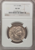 Barber Half Dollars: , 1911-D 50C AU58 NGC. NGC Census: (9/76). PCGS Population (11/113).Mintage: 695,080. Numismedia Wsl. Price for problem free...