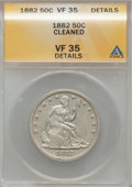 Seated Half Dollars: , 1882 50C --Cleaned--ANACS. VF35 Details. NGC Census: (1/50). PCGSPopulation (2/85). Mintage: 4,400. Numismedia Wsl. Price f...