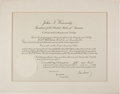 Autographs:U.S. Presidents, John F. Kennedy Appointment Document Signed ...