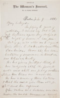 """Autographs:Celebrities, Lucy Stone Autograph Letter Signed """"Lucy Stone""""...."""