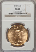 Saint-Gaudens Double Eagles: , 1920 $20 MS63 NGC. NGC Census: (1419/383). PCGS Population(1955/685). Mintage: 228,250. Numismedia Wsl. Price for problem ...