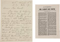 Autographs:Celebrities, Elizabeth Cady Stanton Autograph Letter Signed, with a PrintedAddress... (Total: 2 Items)