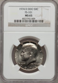 Kennedy Half Dollars, 1974-D 50C Double Die Obverse MS65 NGC. FS-101. NGC Census:(124/74). PCGS Population (93/200). Mintage: 79,066,304. Numis...