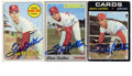 Autographs:Sports Cards, Steve Carlton Signed Baseball Cards Lot of 3. Three Topps cards were issued in 1969,1970, and 1971 and focus on the Hall of...