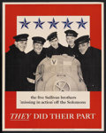 "Movie Posters:War, War Propaganda Poster (U. S. Government, 1943). World War II Poster(22"" X 28""). War. ""They Did Their Part.""..."