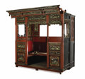 Furniture : Continental, A Chinese Red Lacquer Alcove Bed. . Unknown maker, Chinese. 19th century. Carved, painted and gilt wood. Unmarked. 89-3/4 x ...