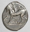 Ancients:Greek, Ancients: Calabria, Taras. Ca. 272-240 B.C. AR nomos (18 mm, 6.42g). Nude youth on horseback left, placing wreath on horse's head /T...