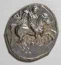 Ancients:Greek, Ancients: Calabria, Taras. Ca. 272-240 B.C. AR nomos (18 mm, 6.33gm). Nude warrior on horseback right, holding round shield, twolanc...