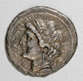 Ancients:Greek, Ancients: Bruttium. Carthaginian occupation. 215-205 B.C. AR 1/2shekel (19 mm, 3.56 g). Wreathed head of Tanit-Demeter left / Horses...