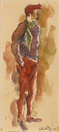 Fine Art - Painting, European:Contemporary   (1950 to present)  , WILLEM DENYSE (Belgian, b. 1943). Portrait of a Man, 1958.Watercolor and ink on paper. 13in. x 6in.. Signed at lower ri...