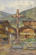 Fine Art - Painting, European:Modern  (1900 1949)  , JULIETTE CALAME (Swiss, 1864-1933). Crucifixion. Watercolor on paper. 17-1/2in. x 11-1/2in.. Signed at lower right J. ... (Total: 1 Item)