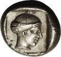 Ancients:Greek, Ancients: Caria, Knidos. Ca. 411-405 B.C. AR drachm (16 mm, 6.21g). Forepart of roaring lion right / Head of Aphrodite right, hairbo...