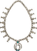 American Indian Art:Jewelry and Silverwork, A NAVAJO SILVER AND TURQUOISE SQUASH BLOSSOM NECKLACE. c. 1915...