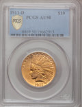 Indian Eagles, 1911-D $10 AU50 PCGS Secure....
