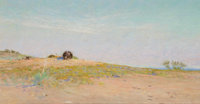 FRANK REAUGH (American, 1860-1945) Untitled Pastel on grit paper 4-1/2 x 8-1/2 inches (11.4 x 21