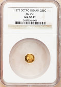 California Fractional Gold, 1872 25C Indian Octagonal 25 Cents, BG-791, R.3, MS66 ProoflikeNGC....