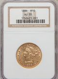 Liberty Eagles: , 1886 $10 AU55 NGC. NGC Census: (36/530). PCGS Population (65/328).Mintage: 236,160. Numismedia Wsl. Price for problem free...