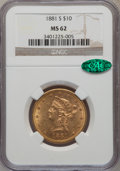 Liberty Eagles, 1881-S $10 MS62 NGC. CAC. NGC Census: (485/31). PCGS Population(323/38). Mintage: 970,000. Numismedia Wsl. Price for probl...