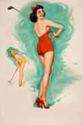 Pin-up and Glamour Art, JERRY T. N. THOMPSON (American, 20th Century). How Do You LikeMy Back Swing? Studio Sketches Calendar Pin-Up, August 19...