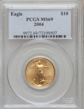 Modern Bullion Coins, 2004 G$10 Quarter-Ounce Gold Eagle MS69 PCGS. PCGS Population(14044/418). NGC Census: (2323/1236). Numismedia Wsl. Price ...