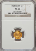 Commemorative Gold: , 1922 G$1 Grant No Star MS66 NGC. NGC Census: (261/100). PCGSPopulation (390/120). Mintage: 5,000. Numismedia Wsl. Price fo...