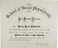 Autographs:Inventors, Alexander Graham Bell Diploma Signed...
