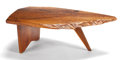 Furniture , FROM THE ESTATE OF EVA SHURE. GEORGE NAKASHIMA (AMERICAN 1905-1990) ENGLISH WALNUT SLAB COFFEE TABLE . Circa 1964. Marks:...