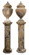 Paintings, PAIR OF CONTINENTAL MARBLE COLUMNS WITH URNS. Probably Italy, 20th century. 92 inches high (233.7 cm) (each) . ... (Total: 6 Items)