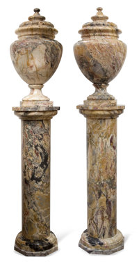 PAIR OF CONTINENTAL MARBLE COLUMNS WITH URNS Probably Italy, 20th century 92 inches high (233.7 cm) (each)