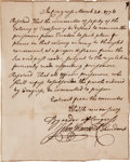 Autographs:Statesmen, John Hancock Document Signed as President of the ContinentalCongress. ...