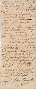 "Autographs:Statesmen, [Peter Faneuil] 1726 Payment Voucher Featuring the Signatures ofSeveral Prominent Boston Merchants. Two pages, 3"" x 7.5""...."