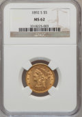 Liberty Half Eagles: , 1892-S $5 MS62 NGC. NGC Census: (61/9). PCGS Population (54/32).Mintage: 298,400. Numismedia Wsl. Price for problem free N...