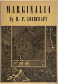 Books:First Editions, H. P. Lovecraft. Marginalia. Sauk City: Arkham House, 1944.Collected by August Derleth and Donald Wandrei. First ed...