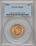 Liberty Half Eagles: , 1892 $5 MS63 PCGS. PCGS Population (112/105). NGC Census:(218/159). Mintage: 753,400. Numismedia Wsl. Price for problemfr...