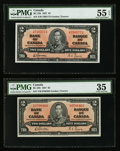 Canadian Currency: , BC-22b $2 1937 Two Examples. ... (Total: 2 notes)