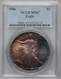 Modern Bullion Coins: , 1986 $1 Silver Eagle MS67 PCGS. PCGS Population (215/4860). NGCCensus: (65/83999). Mintage: 5,393,005. Numismedia Wsl. Pri...