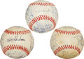 Baseball Collectibles:Balls, 1983 Minnesota Twins, Los Angeles Dodgers and Baltimore Orioles Team Signed Baseballs Lot of 3....