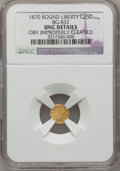 California Fractional Gold: , 1870 25C Liberty Round 25 Cents, BG-832, Low R.6,--Obv ImproperlyCleaned--NGC Details. Unc. NGC Census: (0/1). PCGS Popula...