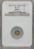 California Fractional Gold: , 1860 25C Liberty Octagonal 25 Cents, BG-731, Low R.5, MS63 NGC. NGCCensus: (0/2). PCGS Population (1/1). (#10558)...