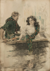HOWARD CHANDLER CHRISTY (American, 1872-1952) My Looking Glass, story illustration Watercolor and ch
