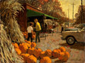Mainstream Illustration, ARTHUR SARON SARNOFF (American, 1912-2000). RoadsidePumpkins. Oil on board. 30 x 40 in.. Signed lower right.From t...