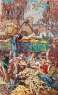Mainstream Illustration, DEAN CORNWELL (American, 1892-1960). Corn Harvest.Watercolor and pen on board. 12 x 7.5 in.. Not signed. From theE...