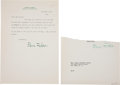 """Autographs:Authors, Edna Ferber Clipped Signature and Typed Letter Signed """"Edna Ferber""""...."""
